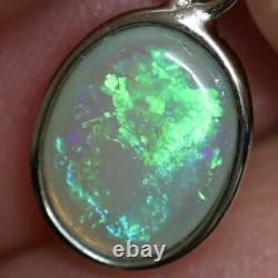 0,67 G Éclairage Australien Ridge, Opale Semi-noire Solide, Pendentif Argent L 19,4