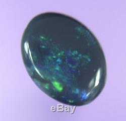 0,7ct Joli Bleu Vert Véritable Lightning Ridge Solid Black Opal Gem Aob1414