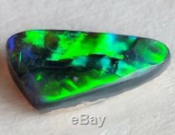0.7ct Solid Black Opal Green & Blue Brillant Lightning Ridge