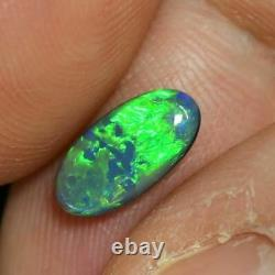 0.89 Cts Australian Semi Black Solid Opal, Lightning Ridge, Pierre