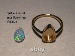1.0 Ct. Anneau Opal 3 Grammes Massif 14k Or Jaune Gratuit Re Taille