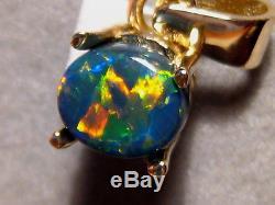 1,0 Ctw. Pendentif D'opale Noire Australienne Rouge Massif En Or Jaune 14 Kt