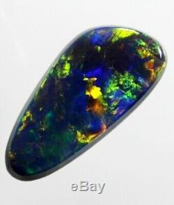 1.13ct Bleu Clair Multicolore Gem Solid Black Opal! (025)