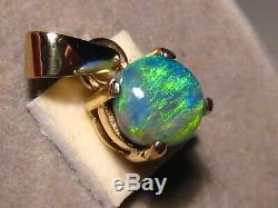 1.2 Ct Gem Black Opal Pendentif En Or Massif Jaune 14 K