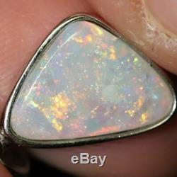 1,37 G D'australie Lightning Ridge Semi-solide Black Opal Pendentif En Argent L 23,5 MM