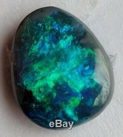 1.38ct Solid Black Opal Bright Green & Blue Freeform Lightning Ridge