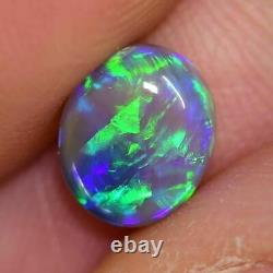 1.47 Cts Australian Semi Black Crystal Solid Opal, Lightning Ridge, Cabochon