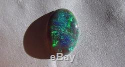 1.48ct Lightning Ridge Solide Naturel Brillant Bleu Vert Noir Opale Ovale Gemtone