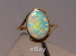 1,5 Ct Australian Gem Opal Ring 4 Grammes Solide 14 K Or Jaune