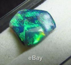 1.56ct Lightning Ridge Solide Naturel Brillant Bleu Vert Noir Opale Sculptée Gem Bn