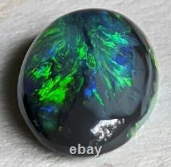 1.5ct Solid Black Opal Green & Blue Ovale Lightning Ridge