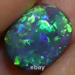 1.67 Cts Australian Black Opal Lightning Ridge, Solid Gem Stone, Cabochon, Vert