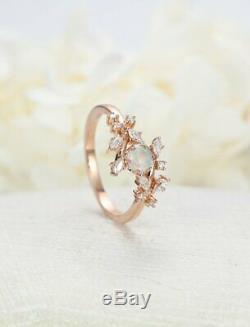 1 Ct Brillant Solid Gold Rose Cut Opal Over Cluster Bague De Fiançailles Diamant