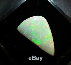 10.41ct Australian Opal Lightning Ridge Solide Semi Noir, Vert Flash, Freeform