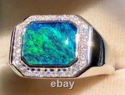 100% Naturel Australien Noir Marine Bleu-vert Fire Opal Solide Anneau Homme 10 U