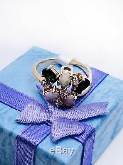 10k Bague Pour Femme Pour Femme Avec Opale Et Diamants En Or Massif Et Vert St Sz 6 1/4 3.20 Grammes