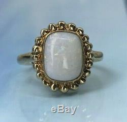 10k Or Massif Vintage Antique Naturel Opal Anneau