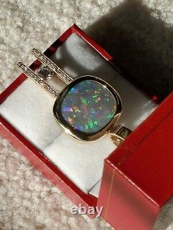 11.83 Carat Solid Black Opal Lightning Ridge Red Blue Green Diamond 14k Collier