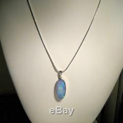 11ct Solide 925 Argent Véritable Incrustation Naturelle Australienne Pendentif Opale Cadeau Gem 725