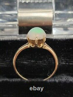14k 14 Kt Solide Or Opal Solitaire Ring Round 1.3 Ct Gemstone 7.25 Sz