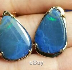 14k Boucles D'oreilles En Or Jaune Massif Massif Avec Opale Naturelle, Bijoux Percés À La Main