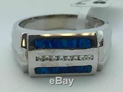 14k Or Blanc 2 Barres Laboratoire Créé Anneau Bleu Vert Opale Avec Diamants Taille 10.5