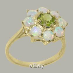14k Or Jaune Solide Naturel Peridot Et Opal Femmes Cluster Ring Sizes 4 À 12