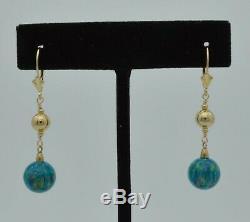 14k Or Massif 10 MM Boucles D'oreilles Perles Vert Opale Feu