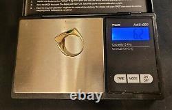 14k Or Massif Kabana Rougeoyant Vert Tourmaline Incrusté Opal Diamond Ring Kbn 6.2g
