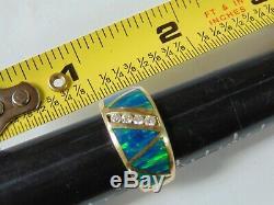 14k Or Massif Massif, Diamants Impressionnants Pour Homme, Opale Bleu Et Vert, Diamants, 9,5