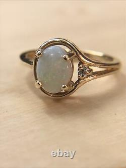 14k Rose Or Rose Opale Avec Diamant Accent Bague Taille 3.75 Pas Ferraille 2.7g
