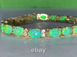 14k Solid Yellow Gold, Green Opal & Crystal Womens 5mm Tennis Bracelet