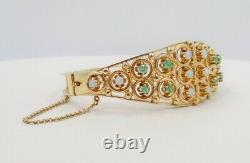 14k Solid Yellow Gold Opal - Emerald Bracelet Bracelet Bracelet 28.1 Grammes Évaluation