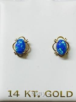 14k Solid Yellow Gold Oval Blue Green Opal Stud Screw Back Boucles D'oreilles
