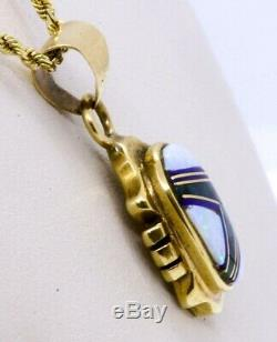 16 14k Or Jaune Solide Opale, Turquoise Green & Lapis Inlay Collier Pendentif