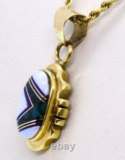 16 14k Solid Yellow Gold Opal, Green Turquoise & Lapis Inlay Collier Pendentif