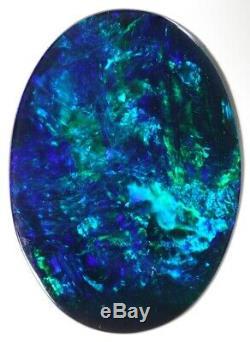 (1706) 6.66ct Bleu / Vert Noir Plein D'opale. Lucky Number 6