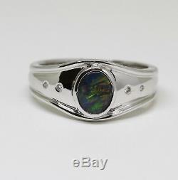 18ct Or Blanc 18 Carats Massif Bague Opale Naturel Noir Bezel Taille O (nous 7 1/4)