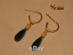 18k Et 14k Solid Gold Vert Onyx Briolette Et Opal Goutte / Dangle Boucles D'oreilles