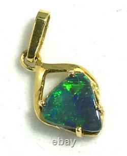 18k Natural Solid Black Opal Pendentif 750 Or Jaune Australian Opal