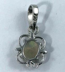 18k Solid Australian Opal Pendentif 750 Réglage Griffe D'or Blanc