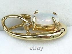 18k Solide Australien Opal Et Diamant Pendentif 750 Or Jaune