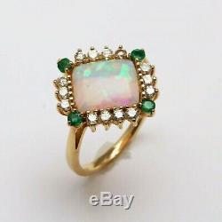 18k Vintage Opal Vert Émeraude Diamant Cocktail Carré Bague En Or Jaune Immobilier