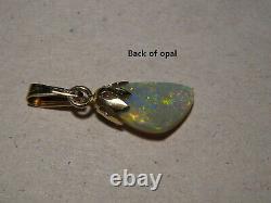 2.3 Ct Solide Australien Semi Noir Pendentif Opale 14k Or Jaune