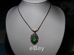2,5 Ctw. Pendentif D'opale Noire Australienne 7 Grammes D'or Jaune Massif De 14 Kt