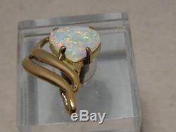 2,7 Ct Cristal Australian Opal Pendentif En Or Massif 18 Kt Jaune