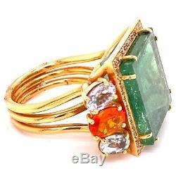 22-carat Vert Tourmaline Opale De Feu Saphir Diamant Bague Cocktail En Or 18 Carats