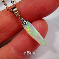 3.2ct Or 14k Naturel Gem Qualité Australien Massif Pendentif Opale Bijoux # 171
