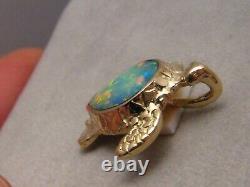 3 Ct. Tortue De La Mer Verte Pendentif Opale 5,8 Grammes Solide 14 K Jaune Or
