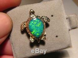 3 Ct Tortue Verte Mer D'opale Pendentif 5,3 Grammes Solide 14 K Jaune D'or